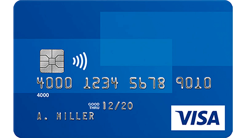 Blue Visa credit card.